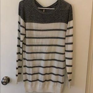 Sweaters - Cream and gray striped sweater